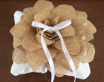 FREE Shipping! Burlap ring bearer pillow with big flower, tulle and pearl, satin ribbon tie
