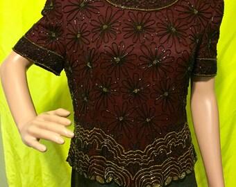 1980s Burgundy Silk Beaded Top, S-M
