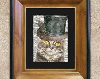 Dictionary Print: Courteous Calico Cat in Top hat, Steampunk Cat Art Print