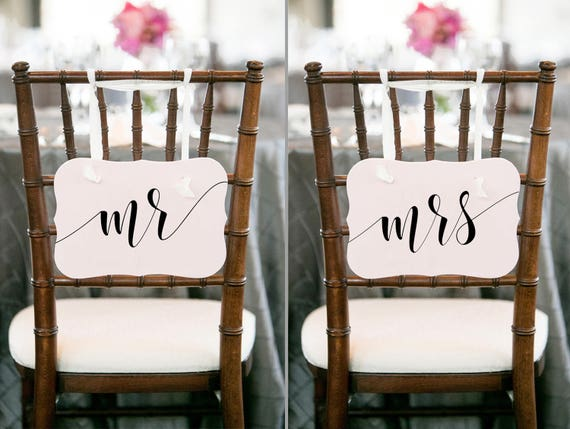Wedding chair sign Mr Mrs chair signs wedding Mr mrs sign Mr