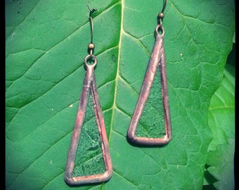 Glass earrings with pewter