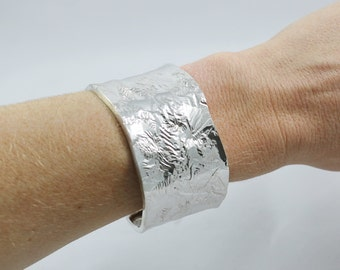 Reticulated Sterling Silver Wavy Texture Cuff Bracelet