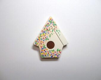 Magnet, refrigerator magnet, ceramic birdhouse magnet