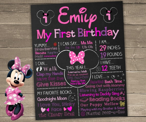 Minnie Mouse First Birthday Chalkboard Minnie Mouse