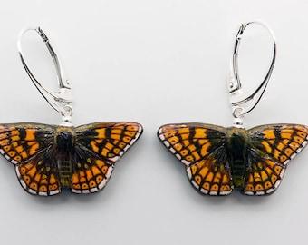Butterfly Earrings - Duke of Burgundy Handmade Hand-painted