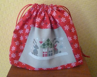 Christmas cross stitch embroidered purse
