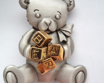 Vintage Signed JJ Silver pewter Teddybear holding ABC  Blocks Brooch/Pin