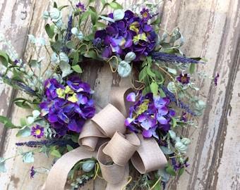 Hydrangea Wreath, Spring Wreath, Double Door Wreath, Summer Wreath,Summertime wreath, Front Door Wreath, Purple Hydrangea ,Everyday Wreath