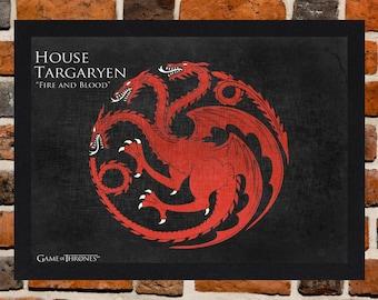 Framed Game Of Thrones House Targaryen Flag / Sigil Poster A3 Size Mounted In Black Or White Frame