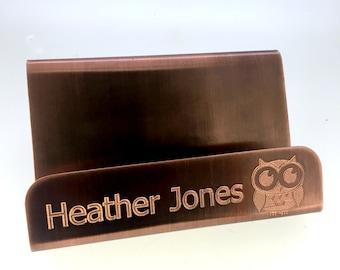 Custom Business Card Holder - Desk & Office Decor,  Gift, Business Card, Card Holder, Engraved Antiqued Copper, Husband, boyfriend
