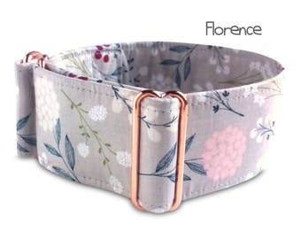 girl dog collar, dog collar with flowers, floral dog collar, rose gold hardware, grey martingale collar, pink grey, buckle collar, Florence