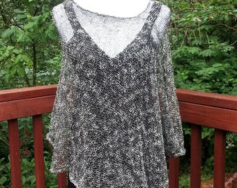 Black and White Knitted Women Cotton Poncho. Summer Poncho. Loose knit Boho Poncho. Asymmetric Poncho.