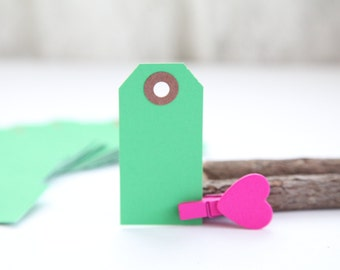 25 - GREEN- MINI Gift Tags - 2 3/4 x 1 3/8, Packing Tags, Shipping Tags, Holiday Tags, Favor Tags