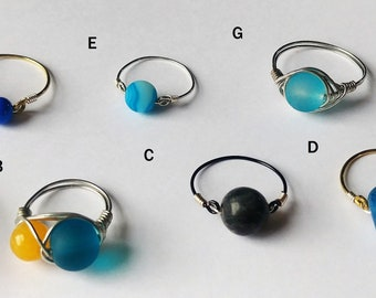 Handmade assorted wire wrapped rings