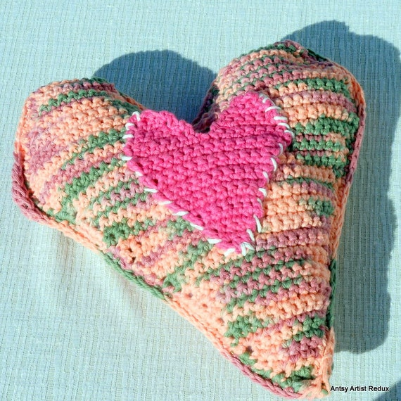Heart Shaped Pillow Folk Art Crochet Reuse Vegan Small Heart