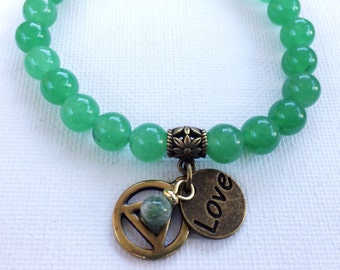 Sobriety Recovery Bracelet, Recovery Bracelet, Green Aventurine AA/ NA Bracelet, Sobriety Jewelry, Recovery Jewelry