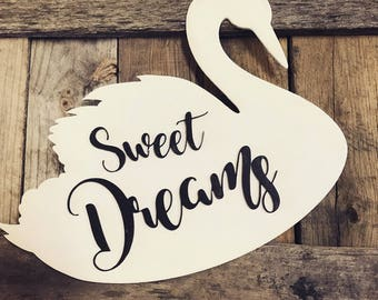 White Swan Childs Decor Sweet Dreams