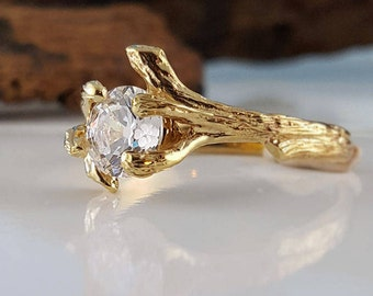 1CT Round Forever One Moissanite Engagement Ring, 14K Gold Wedding Ring, Anniversary Ring by Dawn Vertrees