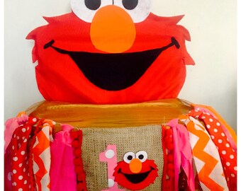 Elmo Birthday High Chair Banner & Cover, girl High Chair banner, High Chair Decoration, photo prop, Elmo party, Sesame Street Party