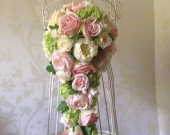 Artificial Bridal Wedding Flowers Vintage Pink and Cream Roses Cascade Bouquet
