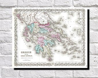 Vintage Map of Greece, 1855 Colton Map of Greece, Map Wall Art Decor, 9534