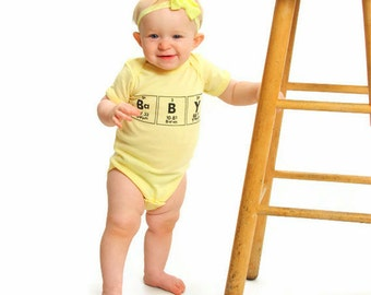 Chemistry Geeky Baby Clothes//Periodic Table One Piece Unisex Clothes - Yellow