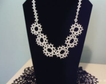 Handmade Tatted White Necklace