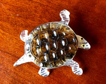 Vintage Turtle Cast and Carved Brooch Pin 1940 Riveted Pin Back