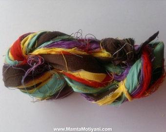Summertime Brights Sari Silk Ribbon, Recycled Handmade Yarn, Sari Ribbon Yarn, Inspirational Colorful Dupioni Ribbon, Crochet Yarn Ribbon