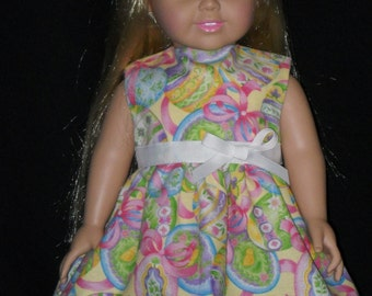 Easter Dress American Girl 18 inch Doll Dress Handmade With Easter Eggs