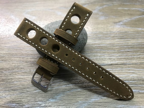 Leather watch band, Vintage Brown watch band, watch strap, Rally Watch strap, Racing Leather watch strap, 19mm, 20mm, FREE SHIPPING