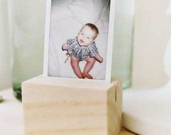 Polaroid Display Stand - Wood Timber Block Picture Frame Desk Raw Natural Scandi Boho Decor Office Gift Favour Pine Instax Photo Nursery