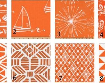 Orange Fabric Print Window Curtains- Pair Of 50 Inch Wide Drapery Panels-