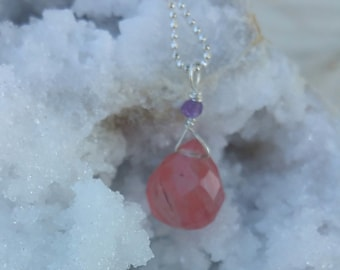 Cherry Quartz and Amethyst on Sterling Silver Ball Chain Necklace