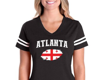 Atlanta Georgia Womens V-Neck Fine Jersey Tee