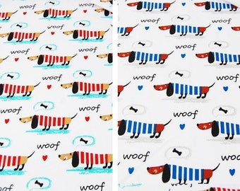 Dachshund Dog Fabric, Red Blue Fabric, Pet Dog Material ,Animal Fabric, Fabric Sewing material, Quilting Fabric red blue white