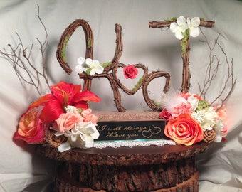 "Two Letter Topper, Standard, Cursive , Grapevine Topper, Rustic Cake Topper, Natural, Handmade cake topper 3"" tall letter or 3""5 tall letter"