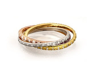 """Solid 14 karat gold multi-color diamond """"Russian"""" wedding band with 0.45 carats of diamonds"""