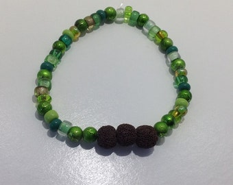 Green and Brown Lava Stone Diffuser Bracelet