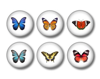 Butterfly pinback button badges or fridge magnets, fridge magnet set