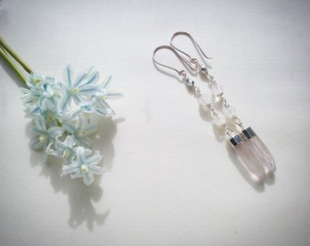 "Tender rose quartz earrings ""Dew drops"""