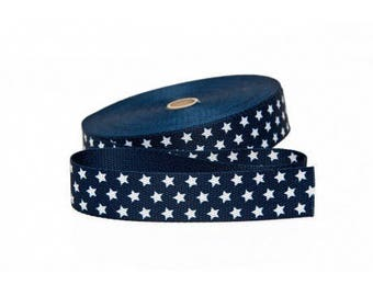 30mm strap Navy star cotton cut from 50 cm