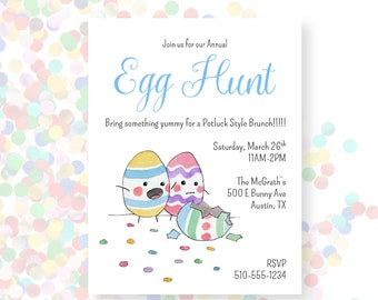 Easter Egg Hunt Brunch Party Theme Printable Invitation PDF