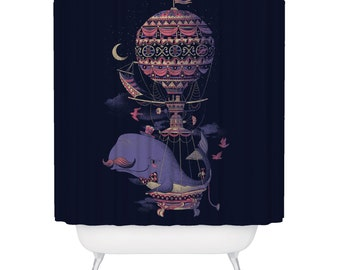 Whale, Shower Curtain, Balloon, Animal, Ocean Shower Curtain, Made in USA - Great Decoration Gift for Bathroom