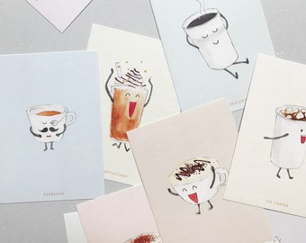 Coffee Personality Postcard // set of 9