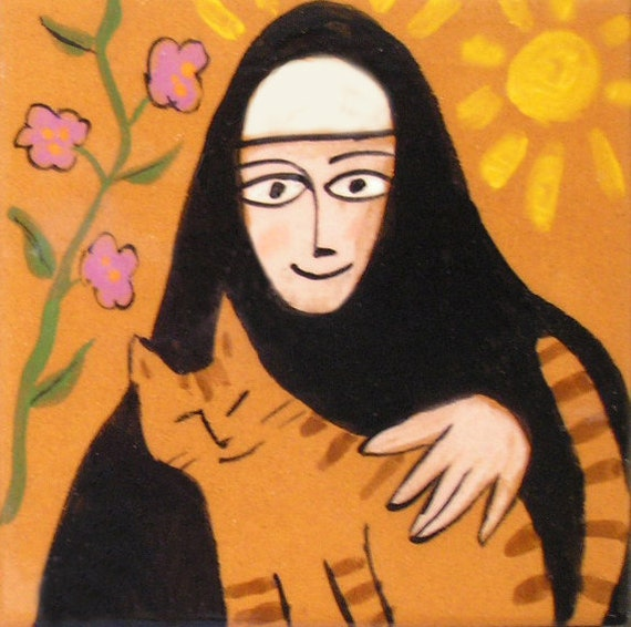 St. Gertrude and Cat - 8x8 inch Matted Print