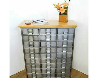 Vintage Metal Organizer 27 Drawers Industrial Parts Cabinet Crafters Storage Jewelry Box Media Stand INV H3