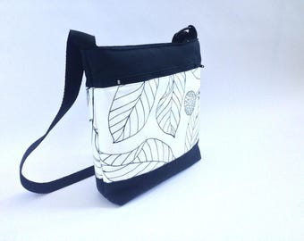 bolso, bolso bandolera, bolso tela, bolsos de tela, bolso blanco y negro, tela HOJAS, otoño, bolso acolchado, bolso forrado, hojas, juvenil