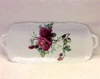 I. Godinger and Co. Rose roses decor serving tray with handles.