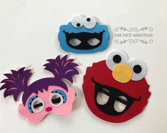 SET 3 Elmo Party Birthday Cookie Monster Party Favors Sesame Street Birthday Abby Birthday Abby